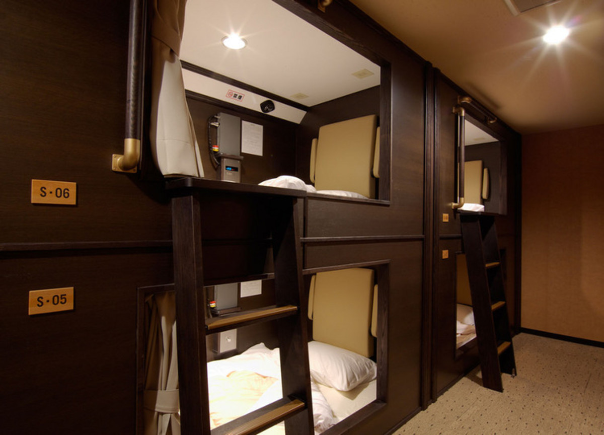 """At Well Cabin Nakasu, single """"cabins"""" (capsules) are a little more spacious and luxurious than those in Tokyo and Osaka."""