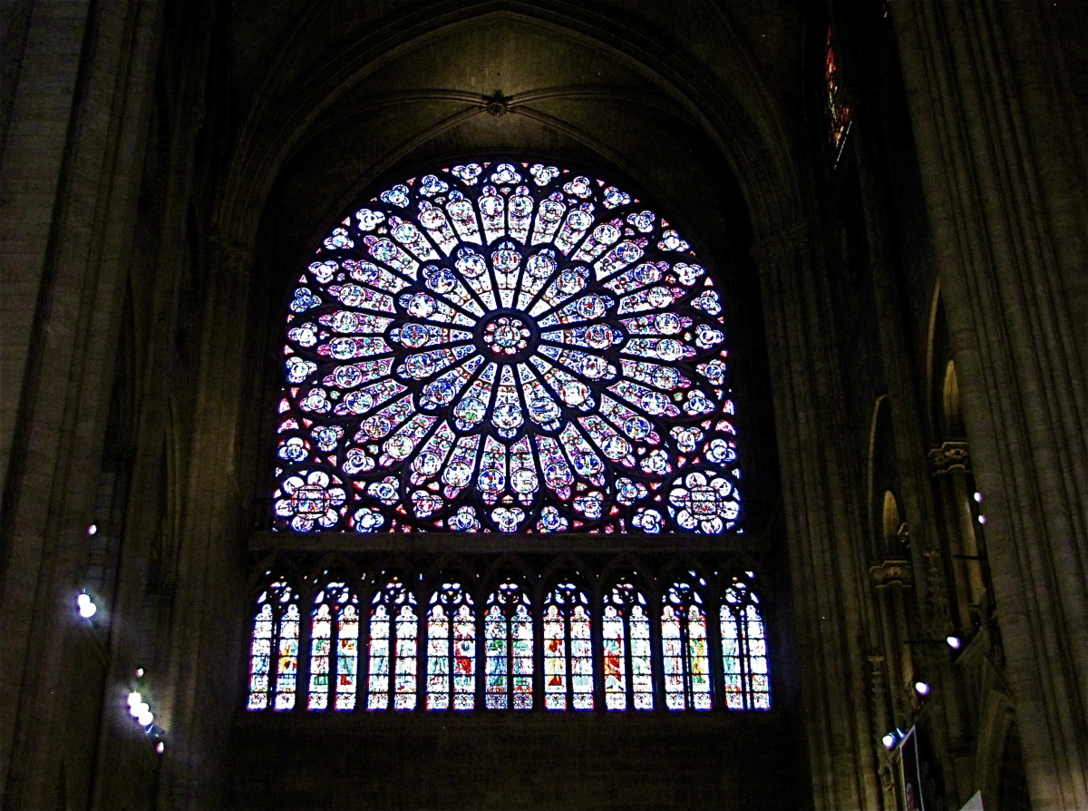 The north rose window, considered to be the most stunning of the three rose windows.