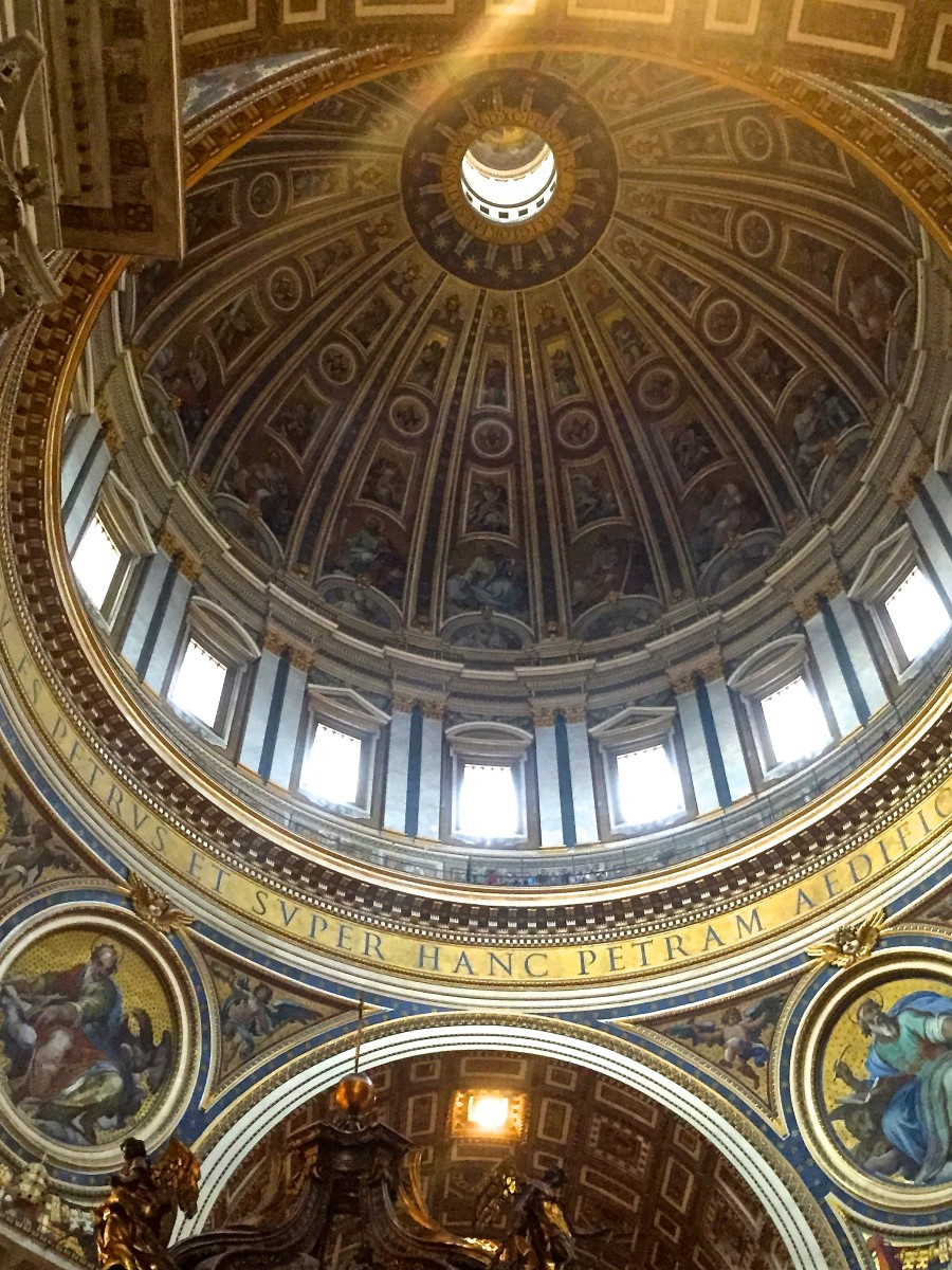 The dome designed by Michelangelo in St. Peter's Basilica