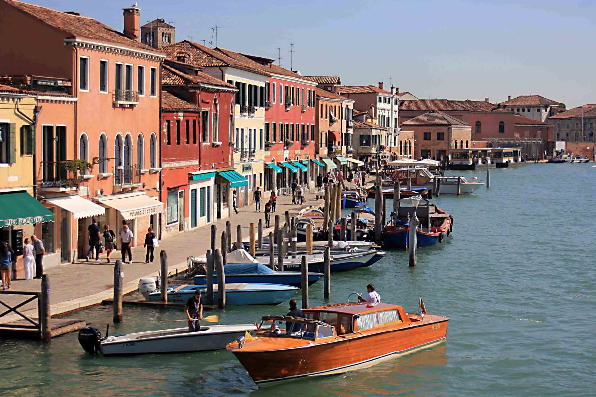 The Island of Murano features wide waterways and pavements