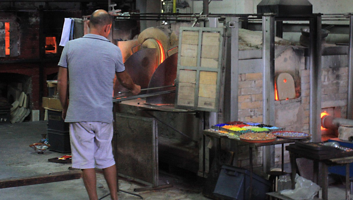 Another glass factory - another furnace. Note the tray of pigments which give Murano glass its distinctive and sometimes extravagant colours