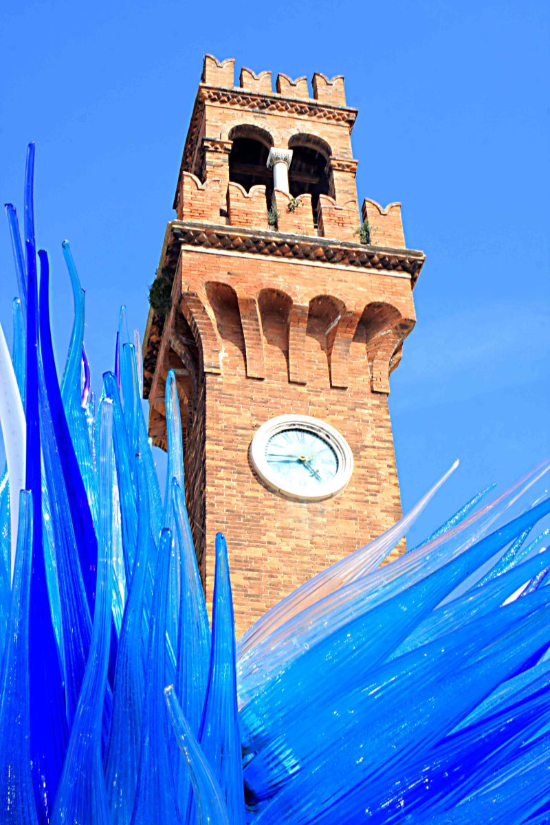 Even in the streets and around historic buildings such as the Campo Santo Stefano, glass sculptures may be seen