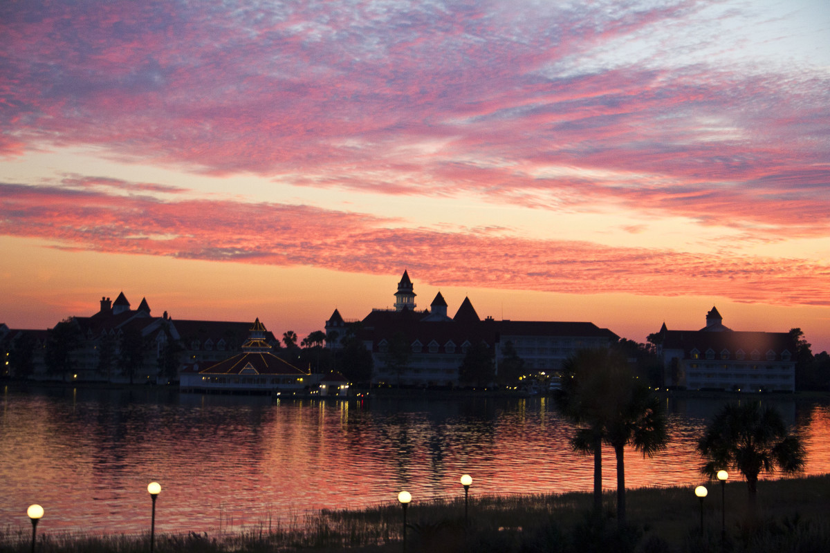 View from the monorail of the sunset and the Grand Floridian