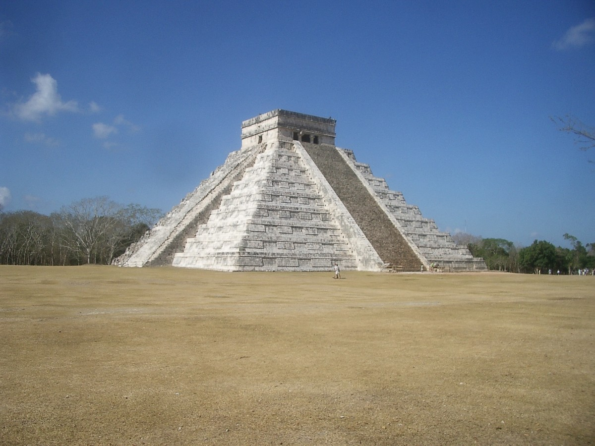 El Castillo, the Temple of Kukulcan,  just before sunset, a few days after the spring equinox.