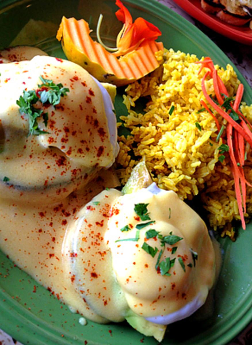 Eggs Benedict Puna style at Pele's Kitchen