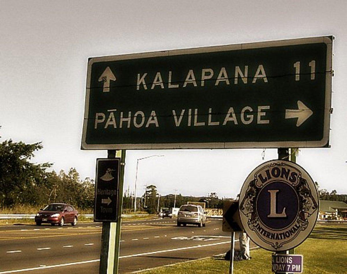 Highway sign to Pahoa.