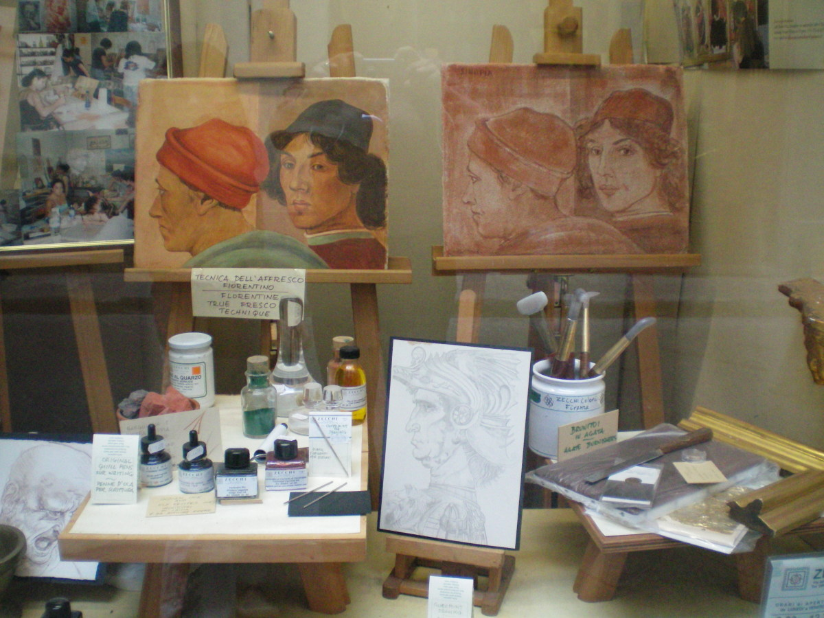 Art lessons in a quiet back street of Florence (c) A Harrison
