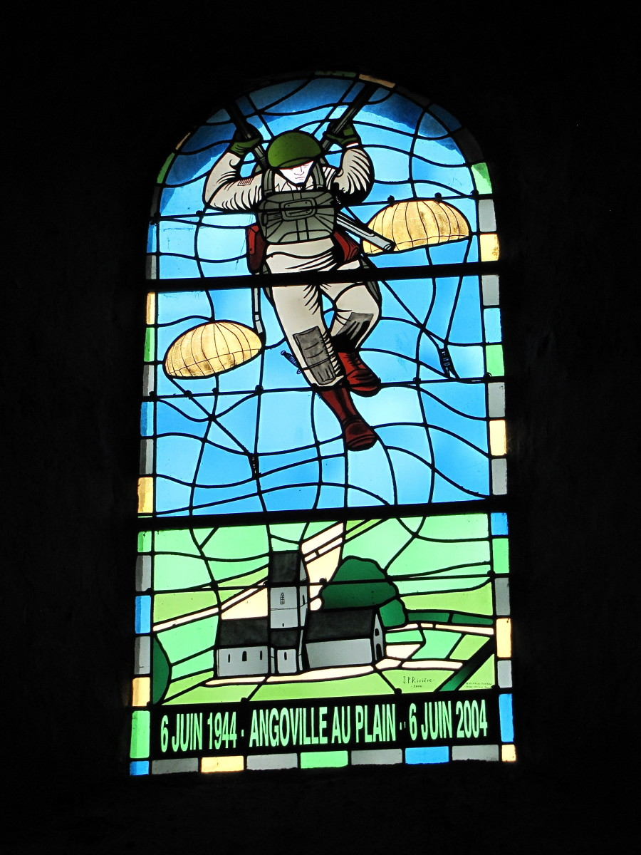 Stained Glass Window honoring the paratroopers who liberated Angoville-au-Plain.