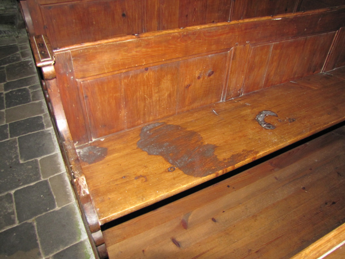 Blood stained pew