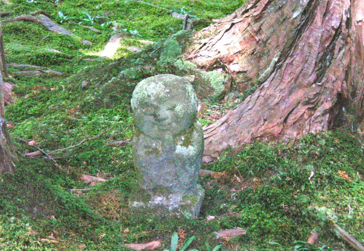 Small statues peek out amongst the moss, Sanzenin Temple, Ohara (c) A.Harrison