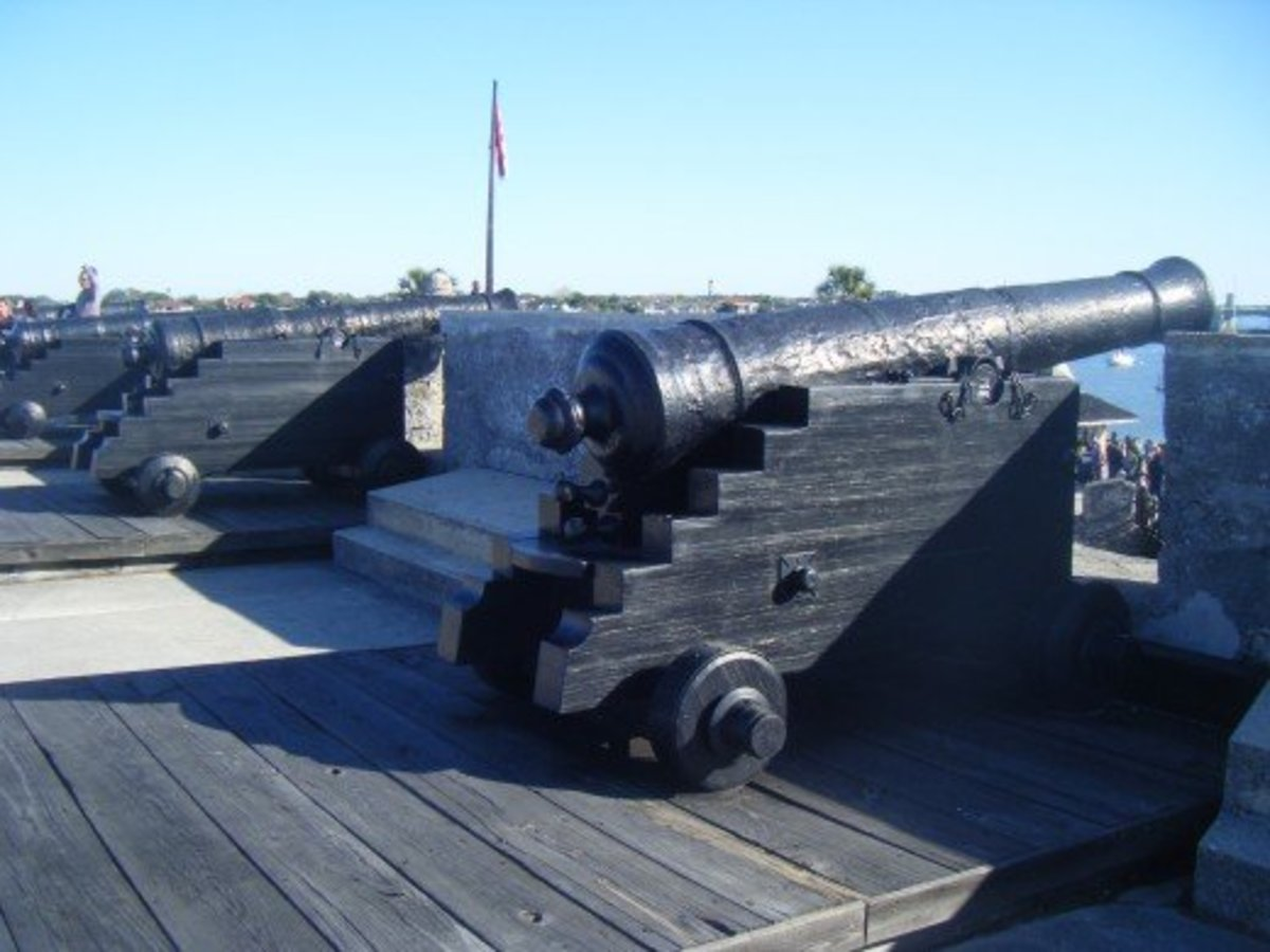 Cannons at the fort looking out over St. Augustine Bay.  During its long history, the Castillo de San Marcos has been the property of the Spanish Empire, Great Britain, the Confederate States of America, and the United States of America.