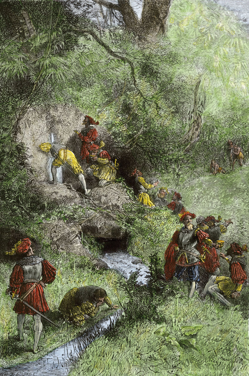 Nineteenth century German picture of Juan Ponce de León and other explorers in Florida searching for the Fountain of youth.  According to legend, he discovered it close to the site of contemporary St. Augustine.