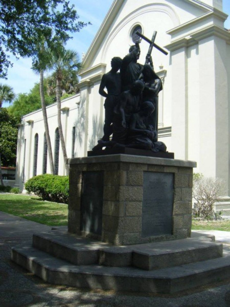 The Father Pedro Camps Statue outside the Cathedral Basilica of St Augustine.  Camps was a Roman Catholic priest and missionary from Minorca. He reestablished the Church of San Pedro on 41 St. George Street.  His body is buried inside the cathedral.