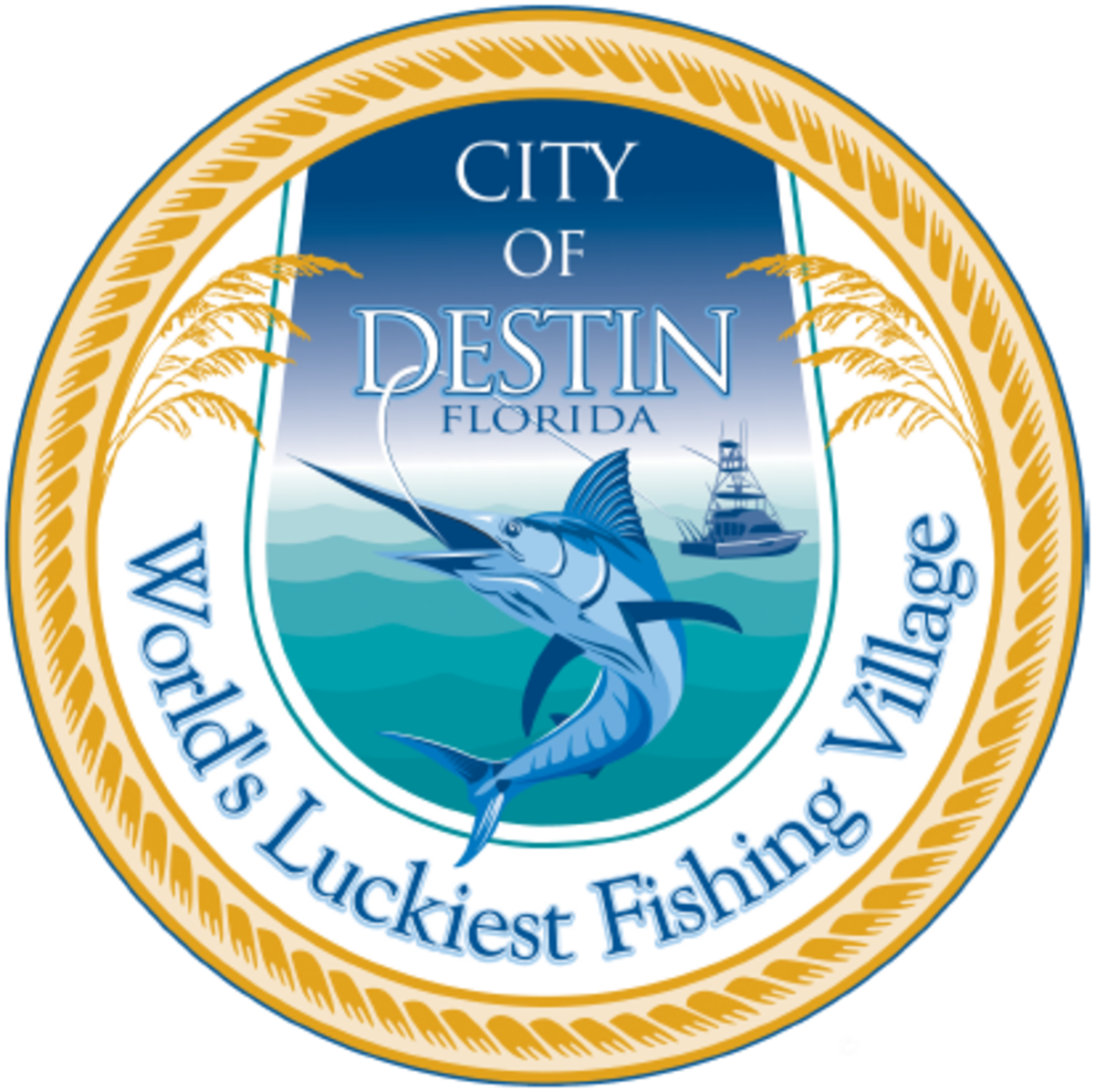 """The official seal of Destin, Florida, including its nickname: """"World's Luckiest Fishing Village"""".  The city gets its name from Leonard Destin, a New London, Connecticut fishing captain who resided in the area between 1845 and 1850."""