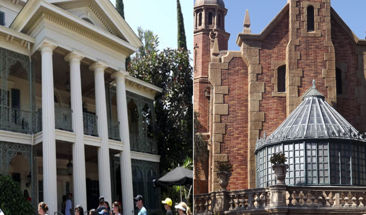 The Haunted Mansion. Left: Disneyland. Right: Magic Kingdom.