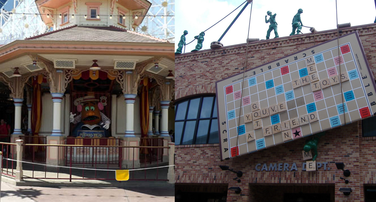 Toy Story Midway Mania. Left: California Adventure. Right: Hollywood Studios.