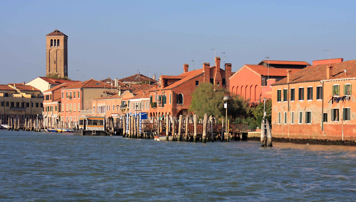 The island of Murano photographed from the Venice lagoon