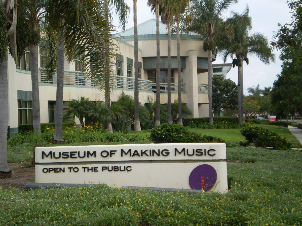 Entrance to Museum of Making Music along Armada Drive, Carlsbad, CA