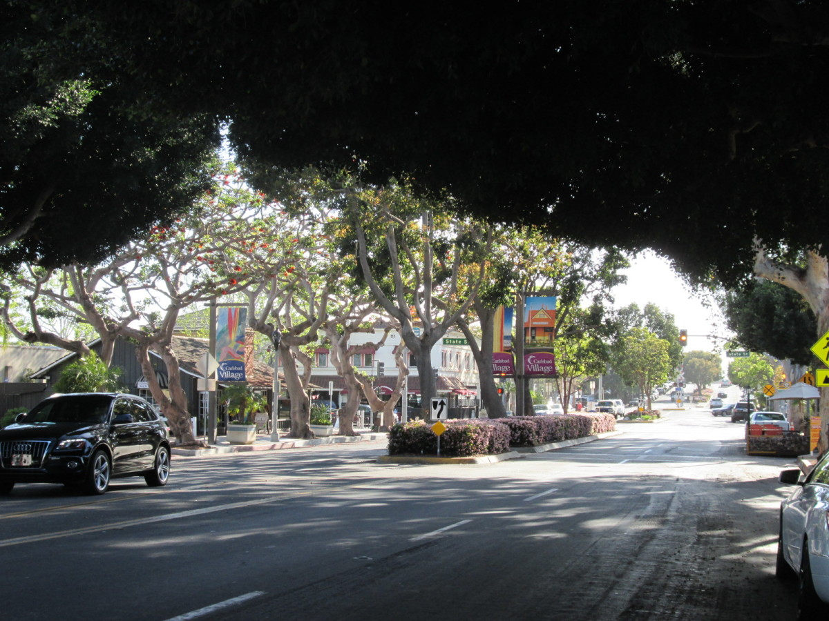 Tree-shaded streets in Carlsbad Village.