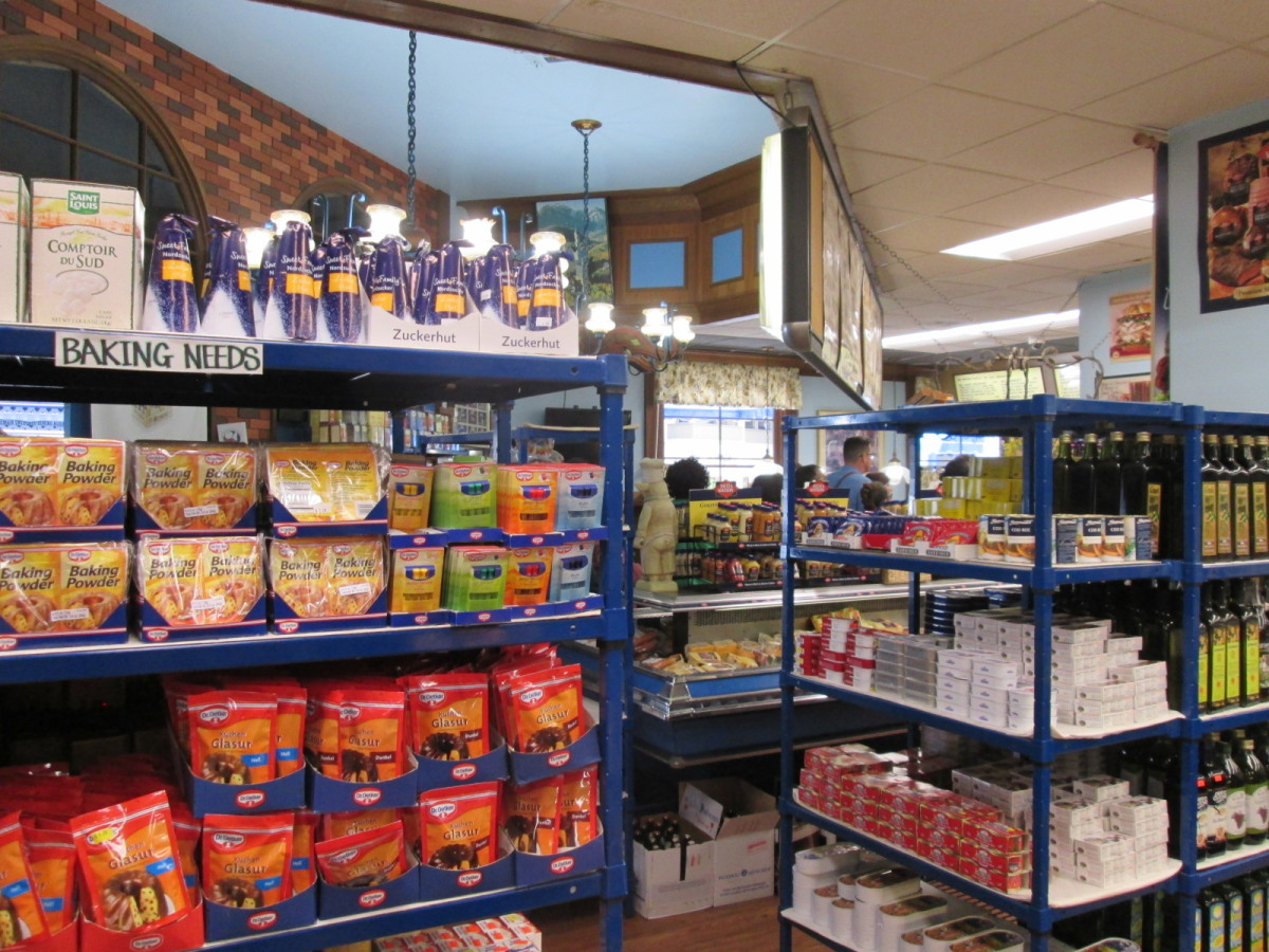 The grocery section of Tip Top Meats sells imported European foods mostly from Germany.