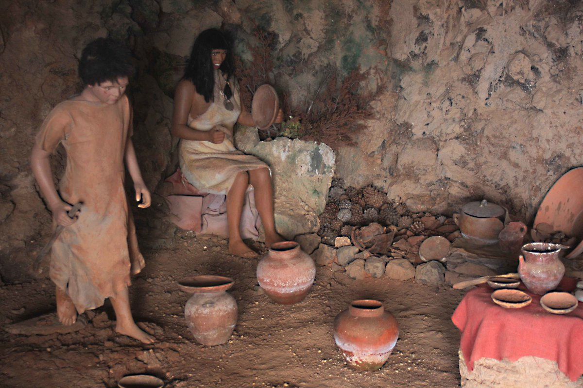 Pottery in a guanche dwelling