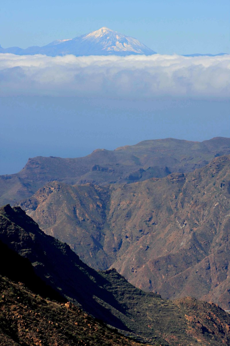 The mountains of Gran Canaria, and the great cone of Mt Teide on Tenerife