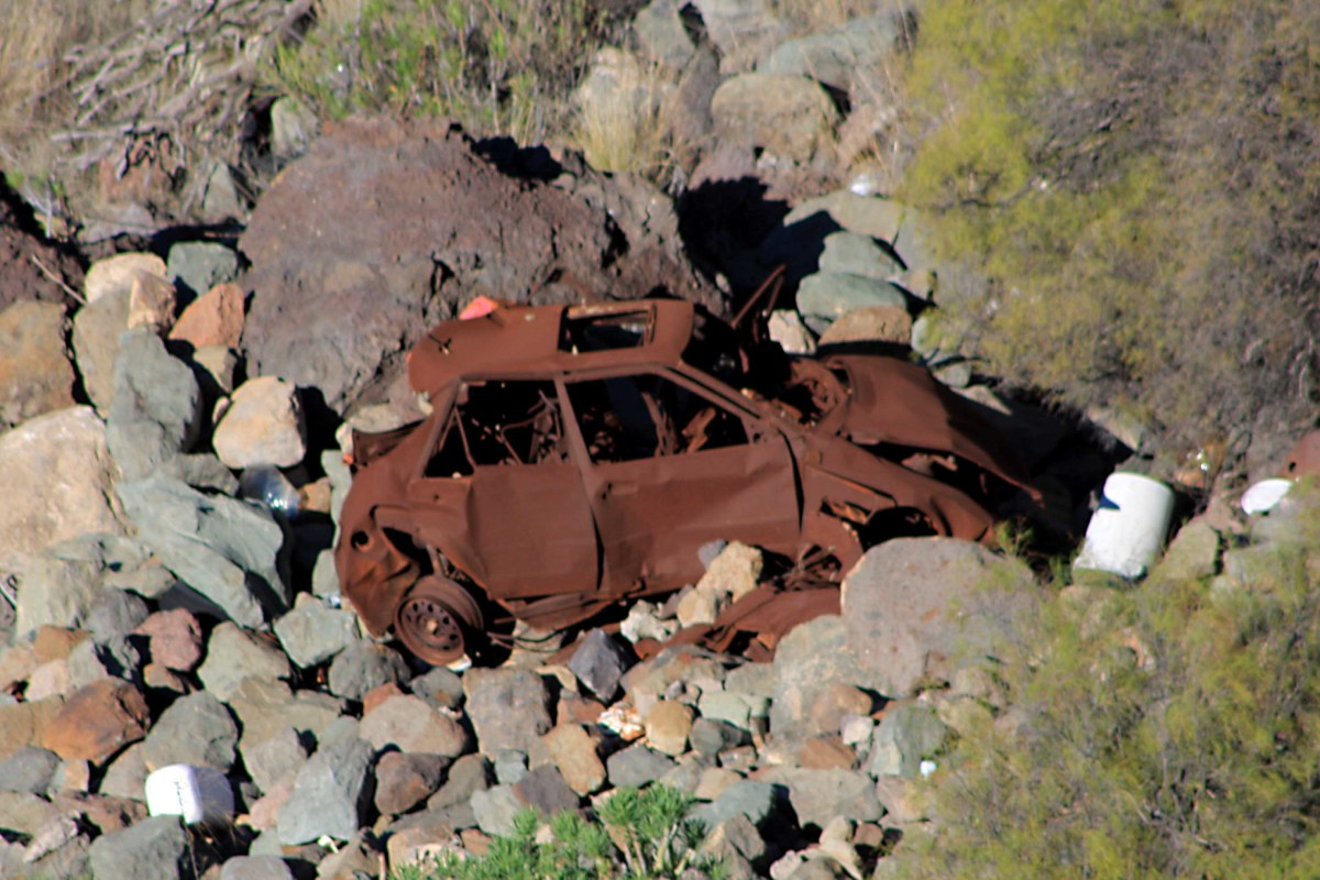 Not wishing to scaremonger! This car was at the foot of a cliff estimated at about 100 ft high. I'm hoping it had just been dumped over the cliff rather than crashed over it