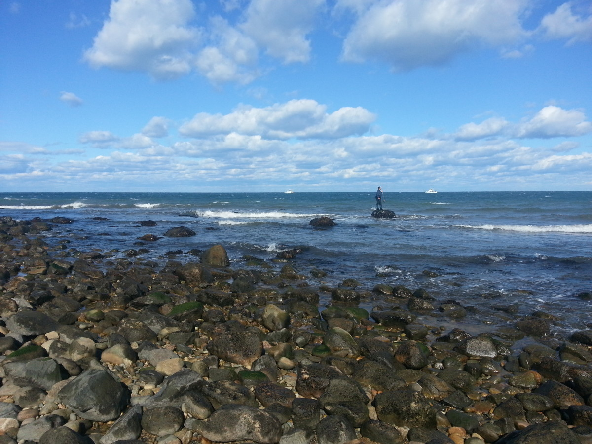 The rocky shoals at Montauk Point provide a popular haven for fishermen.