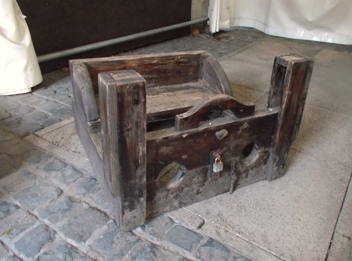 A set of stocks in the rear yard of the museum, used to punish trouble-makers!