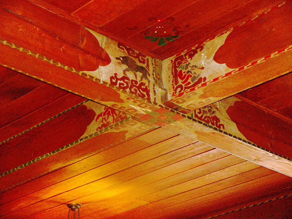 Salish art on beam in Lake Quinault Lodge