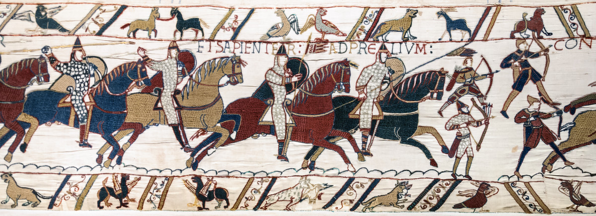 Scene from the Bayeux Tapestry showing the Battle of Hastings.