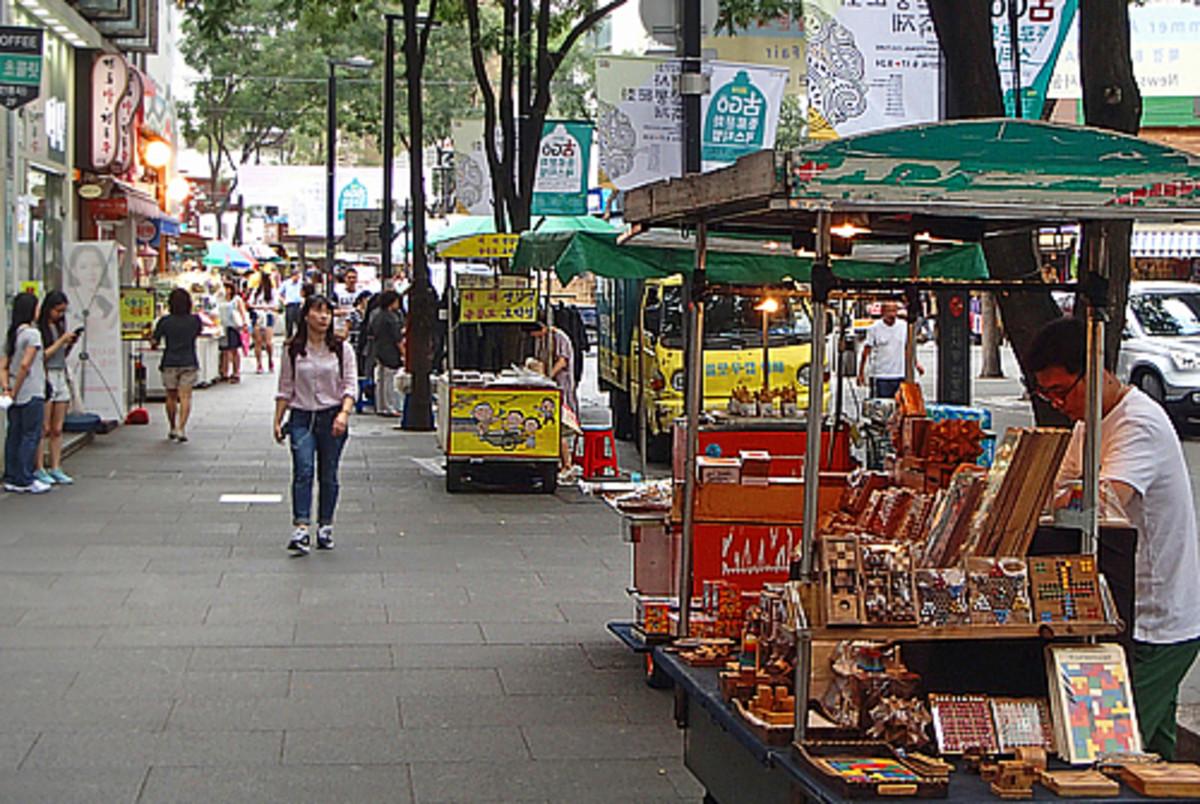 Vendor stalls at Insadong Street Market