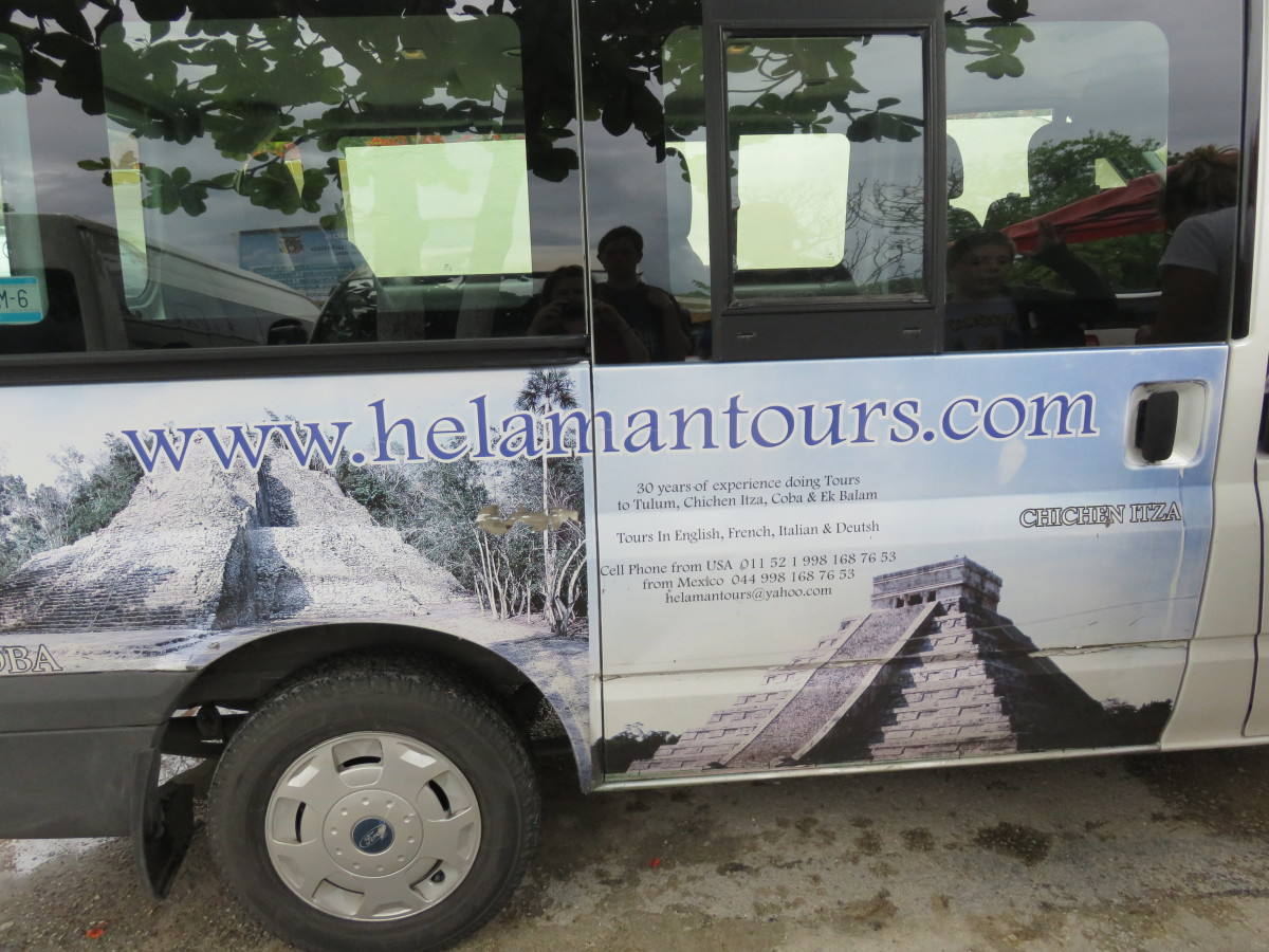 This is a photo of the van that picked us up for our excursion to Chichen Itza and Tulum.
