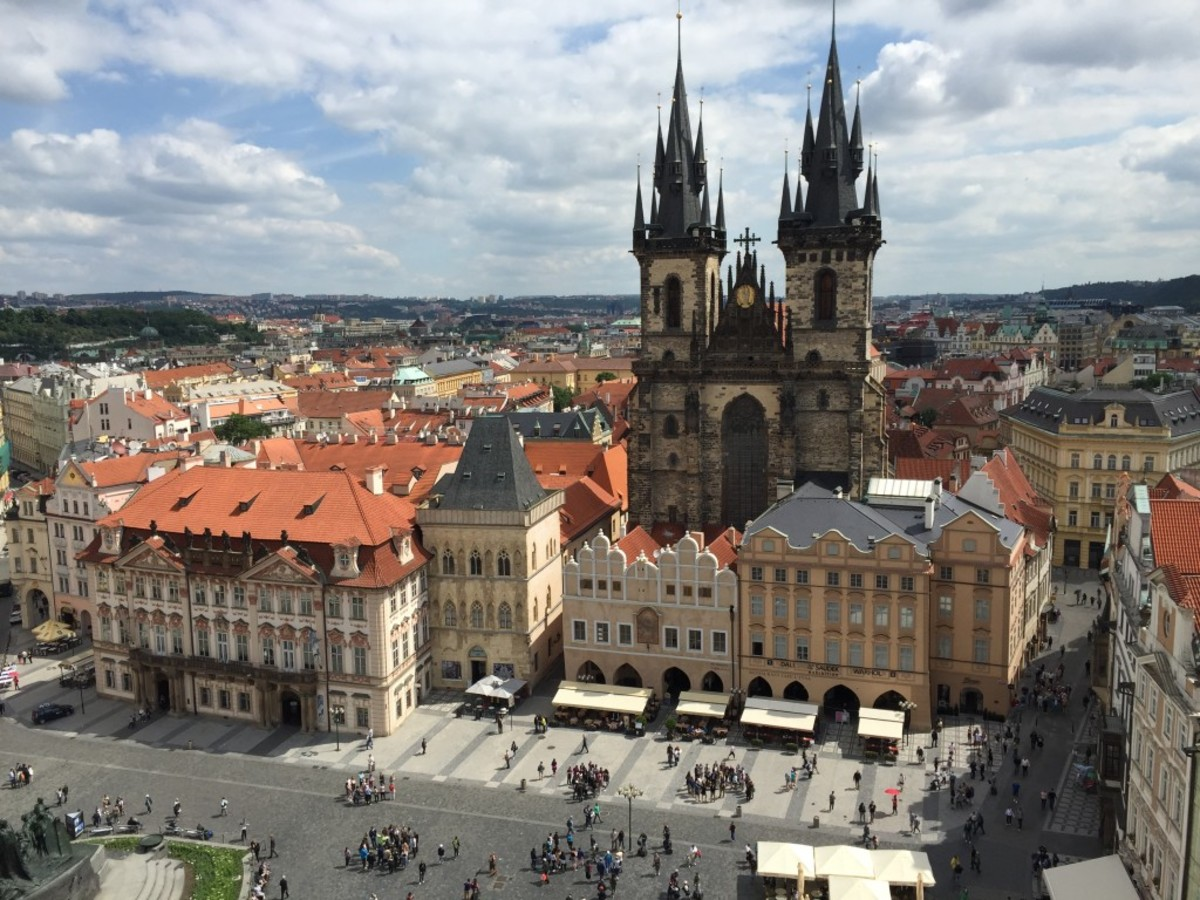 View of the Old Town Square. Picture taken  from the Old Town Hall Tower. Prague, Czech Republic