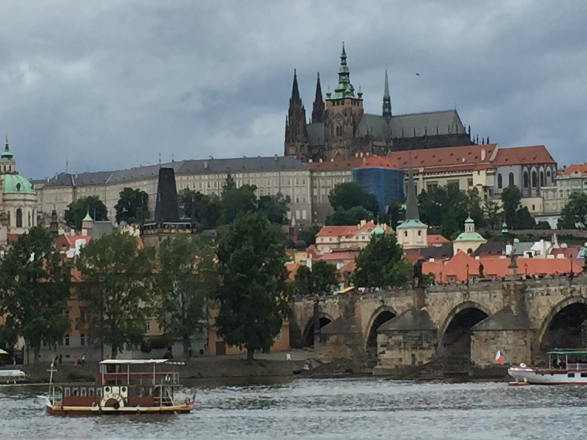 View of Prague Castle from across the Vltava River