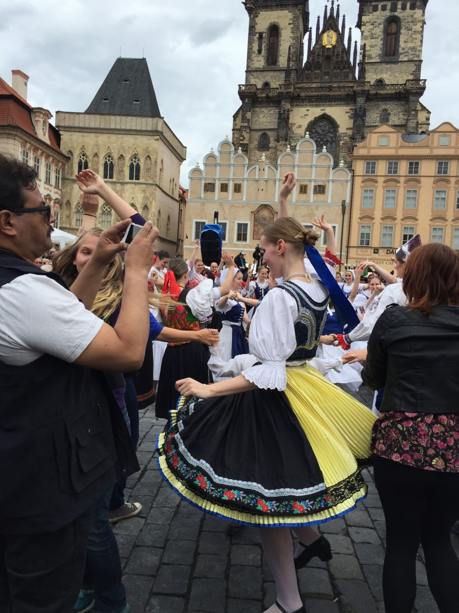 Picture of Dancers in the Old Town Square, Prague, Czech Republic