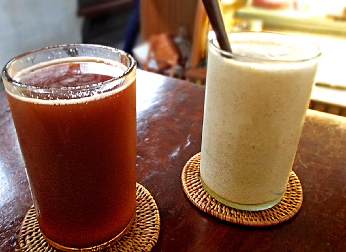 Jackfruit smoothie, watermelon mint basil juice.
