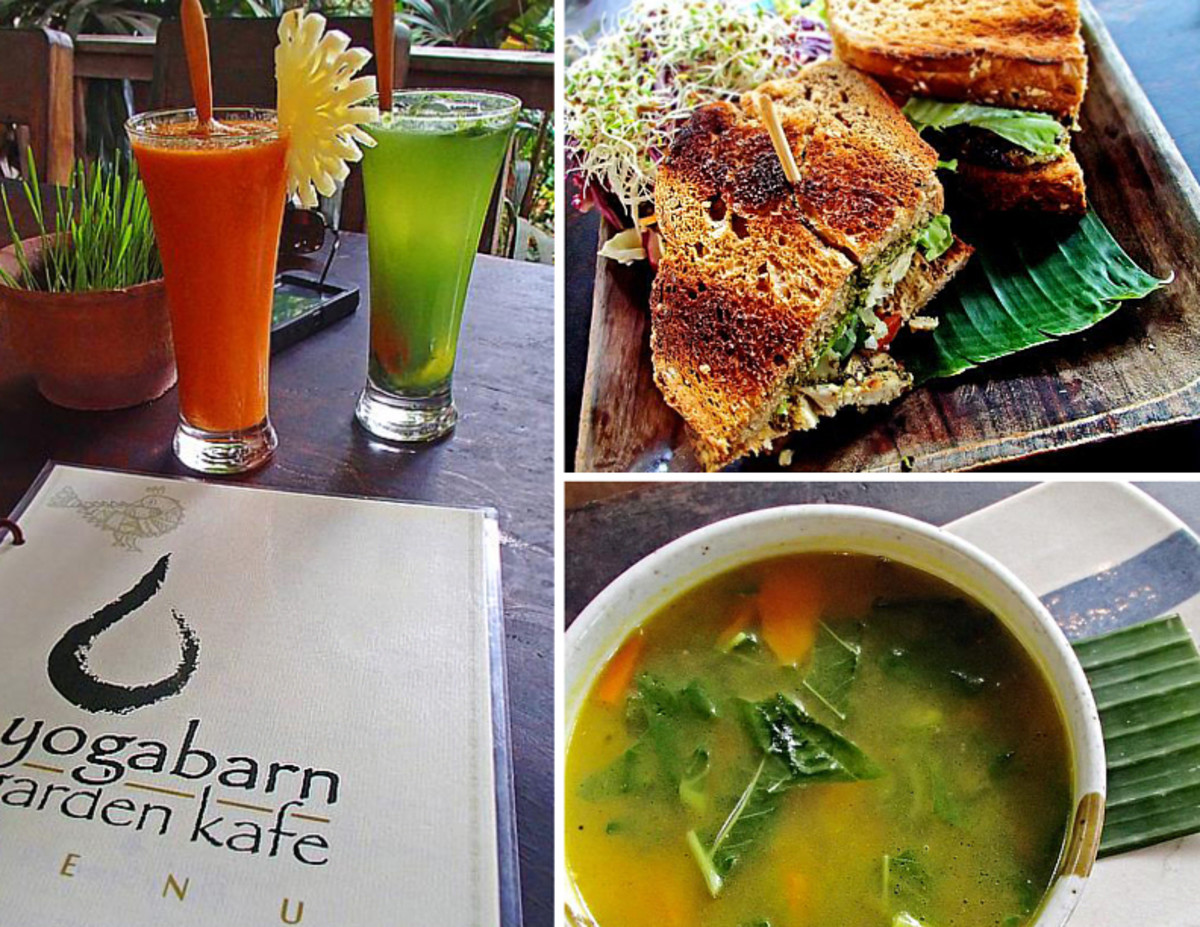 Clock-wise from top left: Fresh carrot, cucumber and celery juices, tempeh pesto sandwich, quinoa veggie soup at Yoga Barn Garden Kafe.