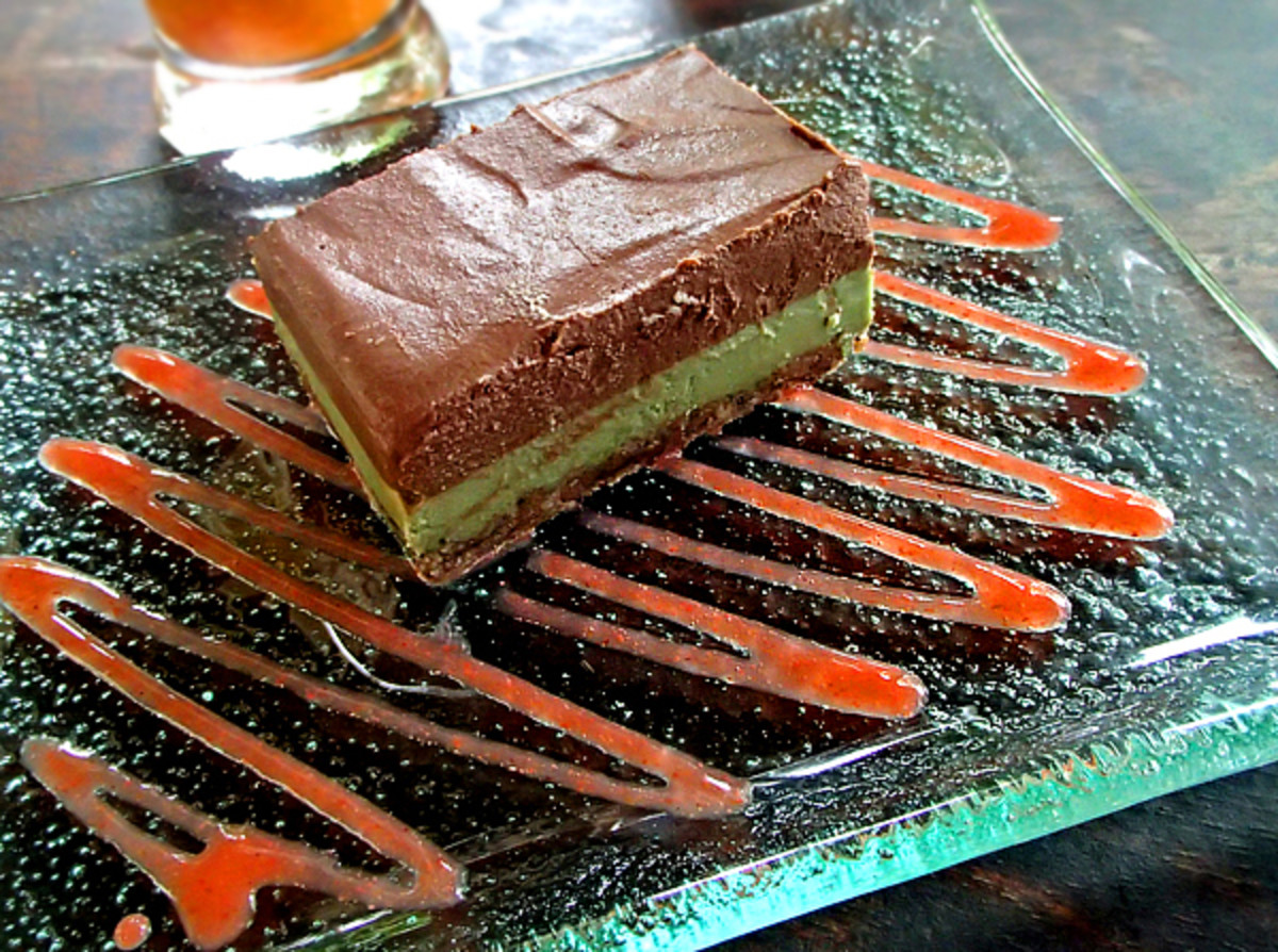 Yoga Barn Garden Kafe's flourless spirulina chocolate peppermint brownie.