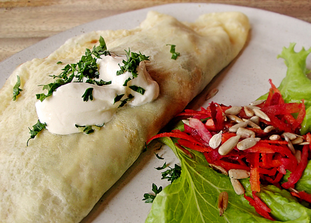 Chicken crepe with creamy tarragon sauce at Juice Ja Café.