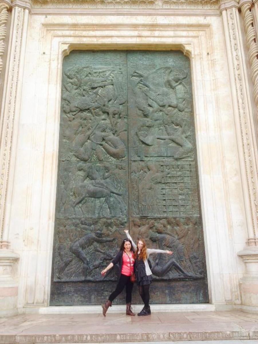 The massive main door into the church.