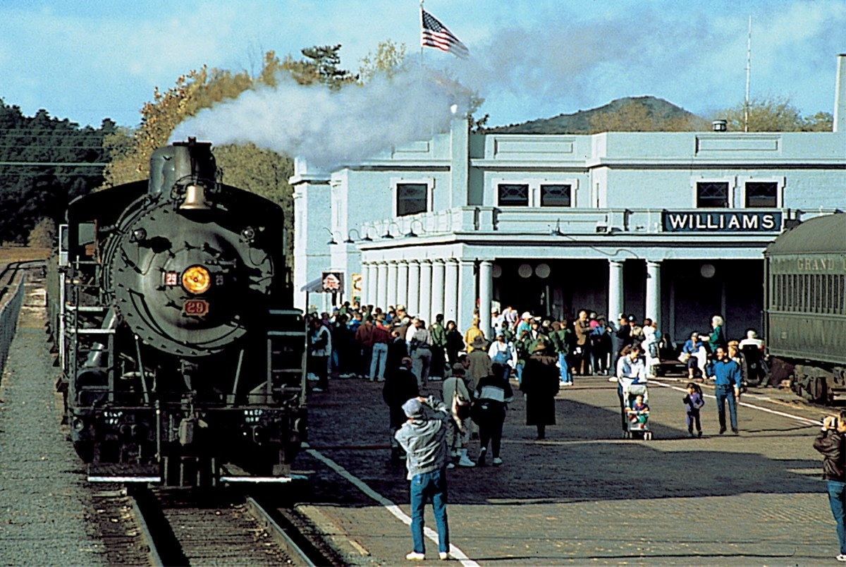 The Grand Canyon Railway Depot — with a 2-8-0 Grand Canyon Railway steam locomotive.The southern terminus of the Grand Canyon Railway, in Williams, Arizona.