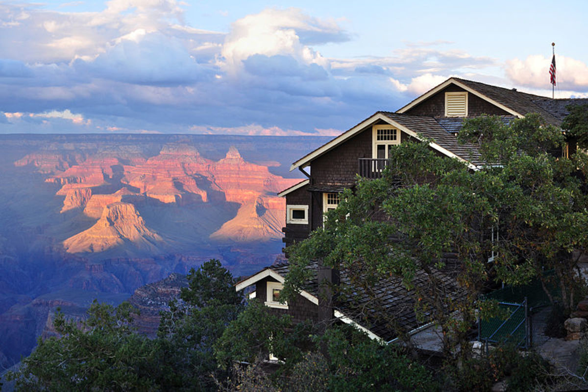 On the edge of the South Rim in Grand Canyon Village, Grand Canyon National Park, Arizona. The historic building is within the Grand Canyon Village Historic District, on the National Register of Historic Places in Grand Canyon National Park.