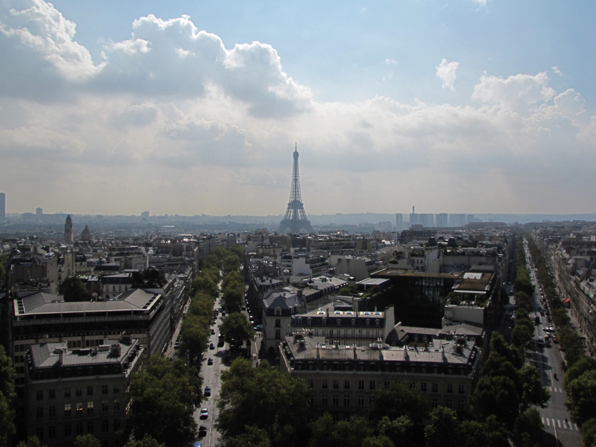 The Eiffel Tower from the Arc de Triomphe.