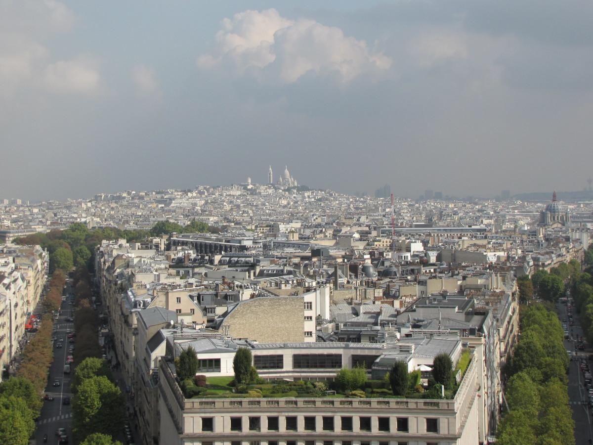 Sacre-Coeur from the Arc de Triomphe.