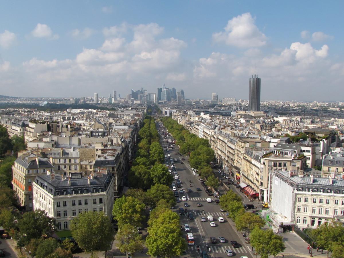 The view toward La Defense from the Arc de Triomphe.