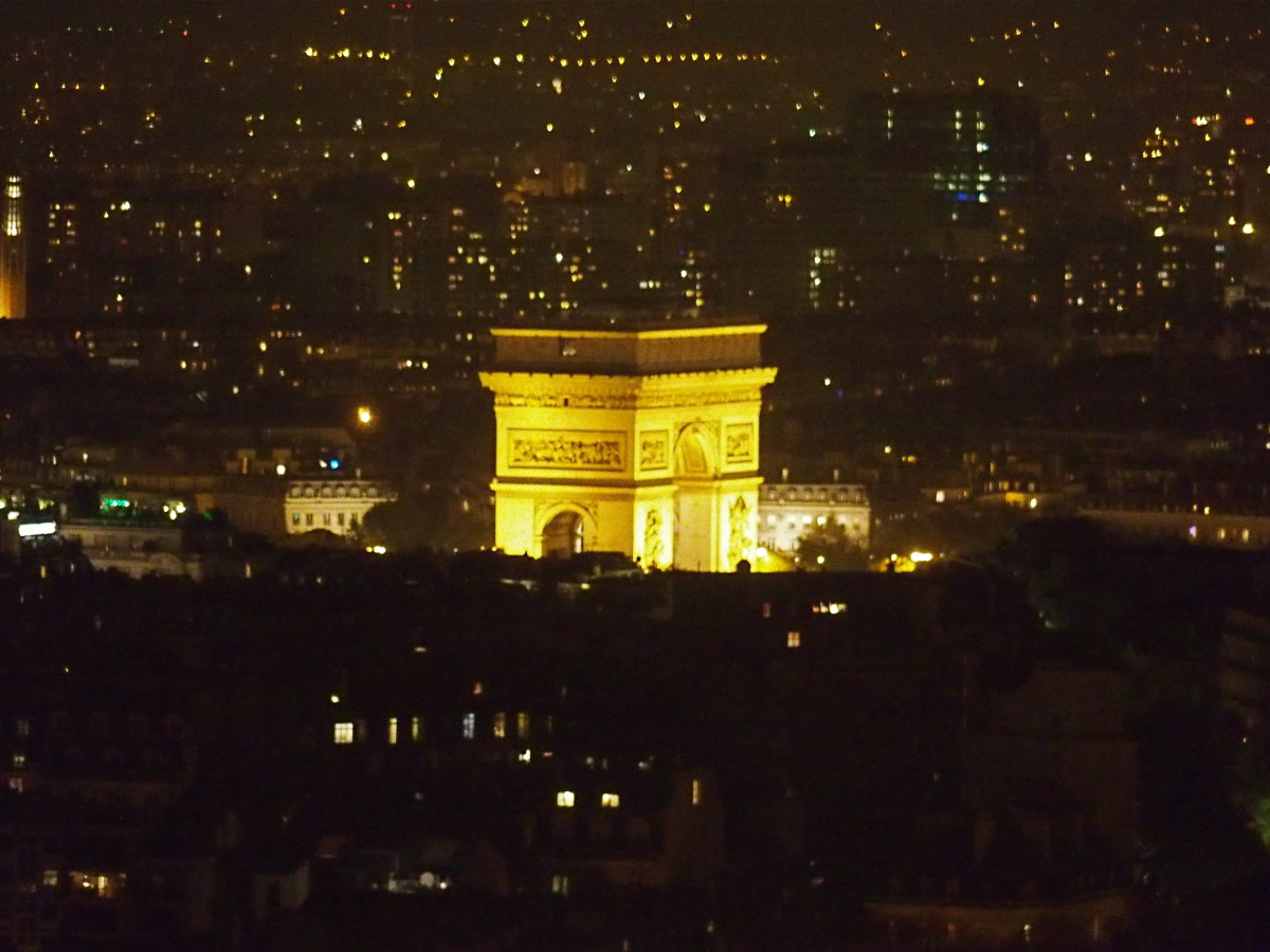 Arc de Triomphe from the top of the Eiffel Tower.