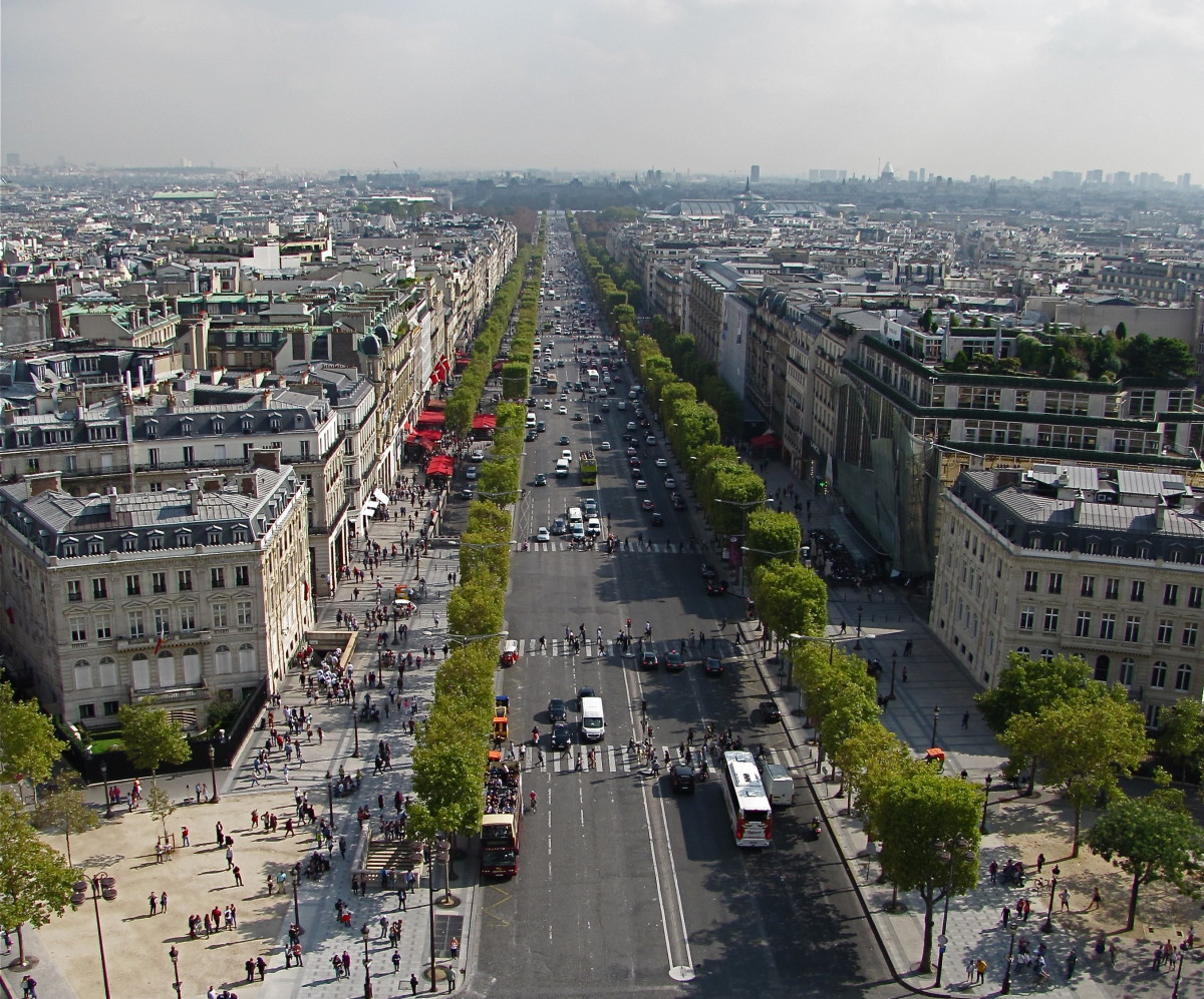 Looking down the Champs-Elysees from the Arc de Triomphe.