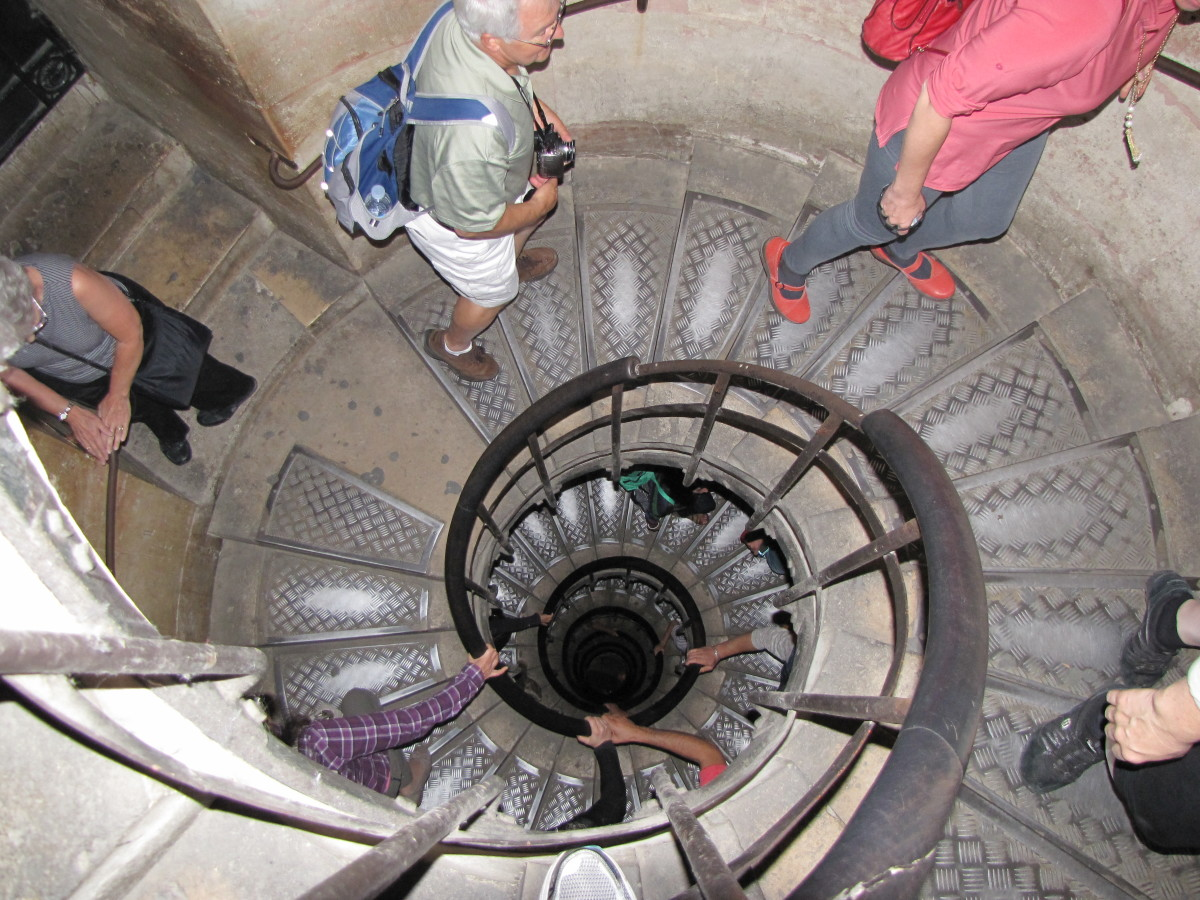 The spiral staircase to the observation deck