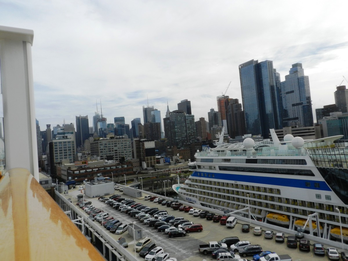 A view of Manhattan from atop the Norwegian Breakaway. That's another cruise ship way down there!